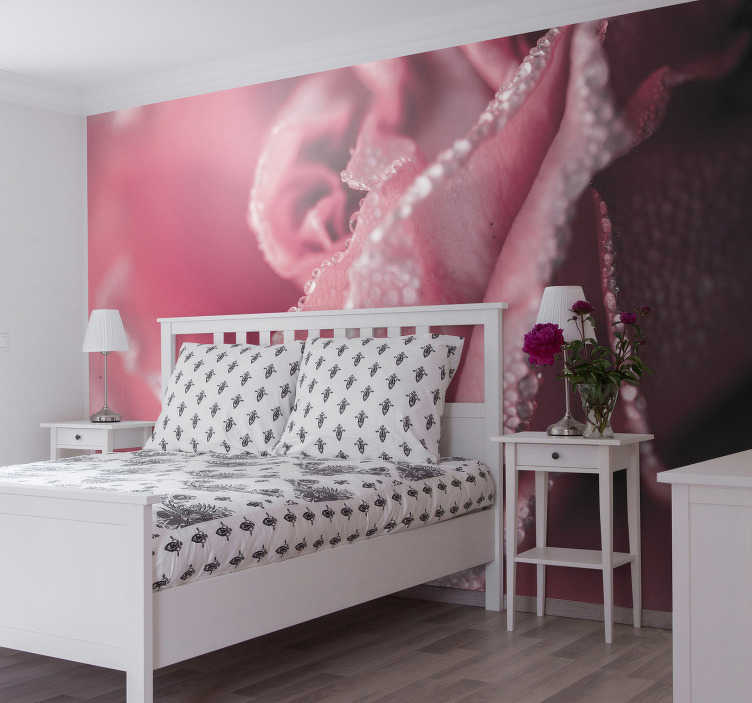 TenStickers. Pink rose flower wall mural. Let's stop for a moment for this unique pink photo wallpaper, showing raindrops. Something so special should certainly not be missing in your home.