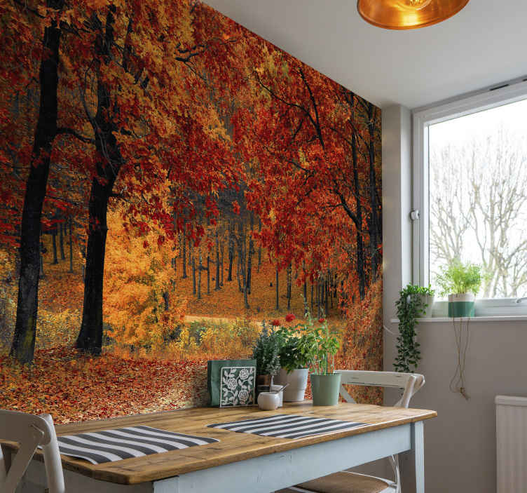 TenStickers. Autumn Forest Wall Mural. Bring all the beauty of the outdoors into your home with this amazing autumnal mural wallpaper. Free worldwide delivery available!