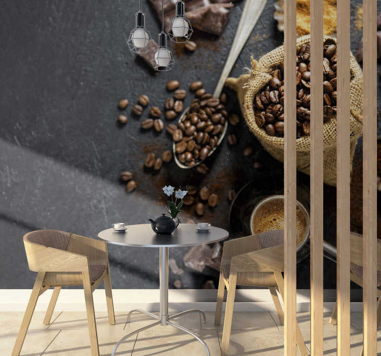 TenStickers. 3D coffee beans wall mural. Coffee is the best drink in the world. Some might argue, but not this coffee bean and cup 3D photo mural! Show your love for coffee!