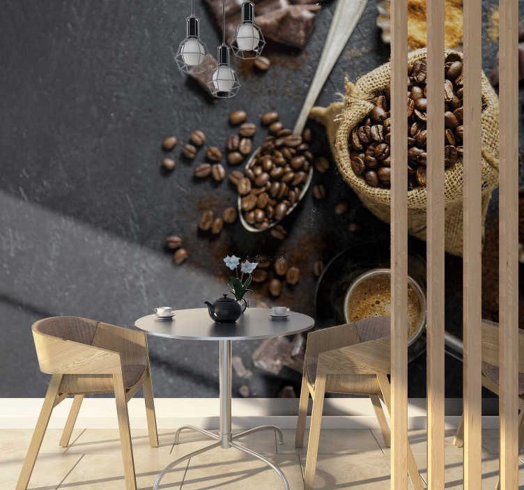 TenStickers. Carta da parati foto chicchi di caffè 3d. Il caffè è la bevanda migliore al mondo. Alcuni potrebbero obiettare ciò, ma non questo fotomurale 3d di chicchi di caffè ! Mostra il tuo amore per il caffè!