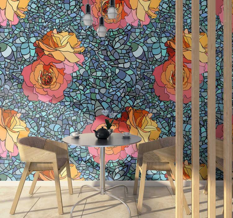 TenStickers. 抽象的玫瑰马赛克花墙壁画. 每个人都会羡慕您的迷人设计!这张抽象花的照片壁画是一个大胆的选择,有五颜六色的玫瑰和蓝绿色的背景