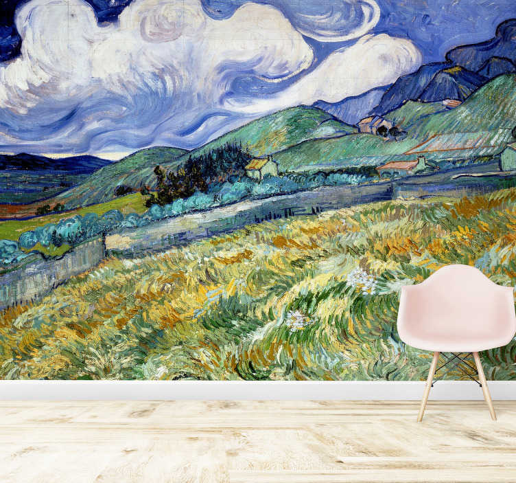 TenStickers. Artistic Van Gogh Iris Art Wall Mural. Every art lover should have an artistic photo wallpaper like this one! Vincent Van Gogh's extraordinary art piece. Zero residue upon removal.