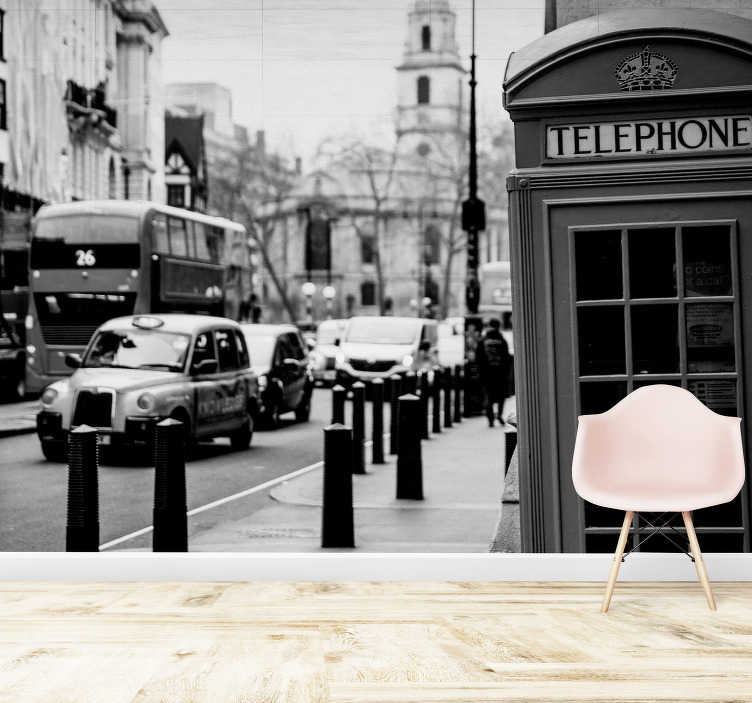 TenStickers. Black and white London City Photo Wallpaper. A city that has fascinated people for centuries now! Show your love for England's capital with this black and white city wall mural.