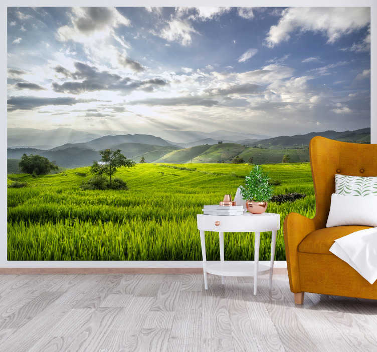 TenStickers. Dawn on the fields landscape photo mural. Look at this breathtaking view! This landscape photo wallpaper will make your wall look stunning. With lush fields and high mountains.