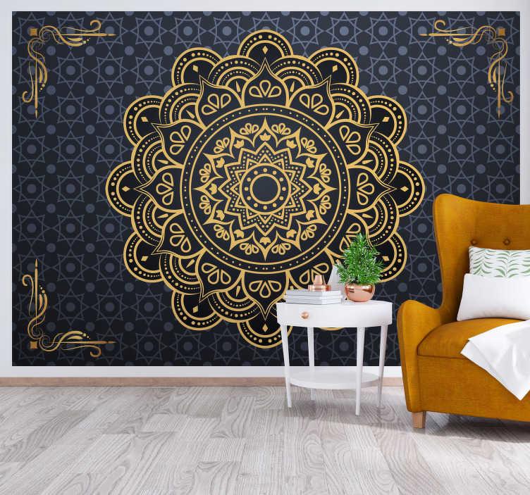 TenStickers. Zlatá mandala zen fototapeta. Uklidněte se s touto fantastickou nástěnnou malbou zen, ideální pro vaši ložnici, obývací pokoj nebo jakoukoli jinou místnost. Doprava zdarma!