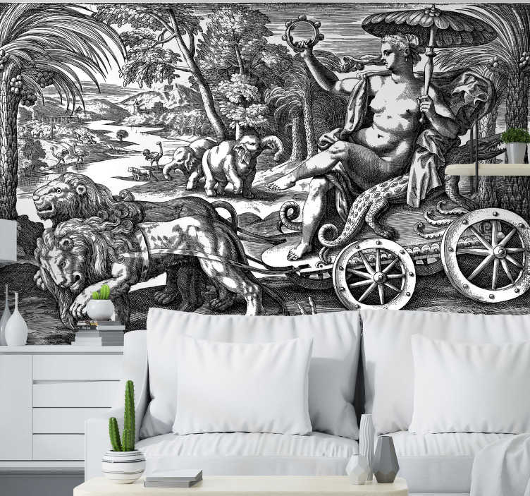 TenStickers. Vintage jungle photo wallpaper. Unusual classic art wall mural with a vintage jungle full of different kinds of animals. Choose any size you want and enjoy free delivery today!