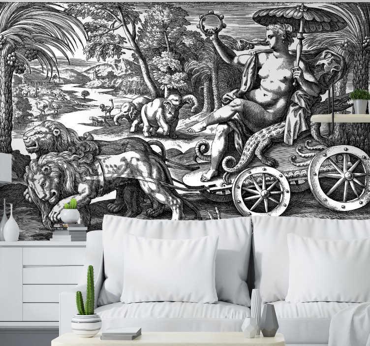 TenStickers. Vintage jungle fotobehang. Ongebruikelijke klassieke kunst muurschildering met een vintage jungle vol met verschillende soorten dieren. Kies elke gewenste maat en geniet vandaag van gratis levering!