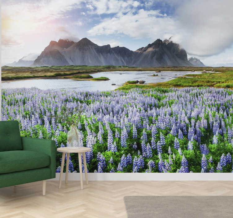 TenStickers. Mountain landscape wall mural. Enjoy this spectacular view of mountain and tha lake on this landcape wall mural full of nature. High quality image and free delivery!