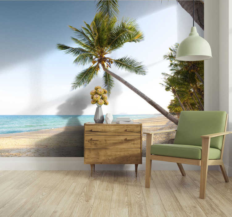 TenStickers. Palm and sea view landscape wall mural. Life is better under the palms, so order this landscape wall mural showing a beautiful beach, with blue water and lovely palms. Free delivery!