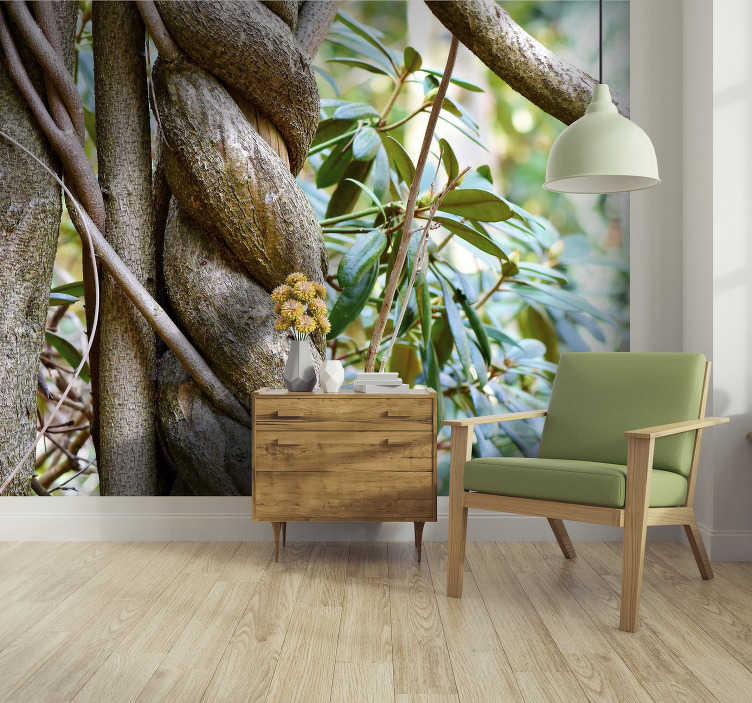 TenStickers. Twisted trees landscape wall mural. Unusual twisted tree will look spectacular in your home. Order this tree wall mural and totally transform your interiors. Free delivery!
