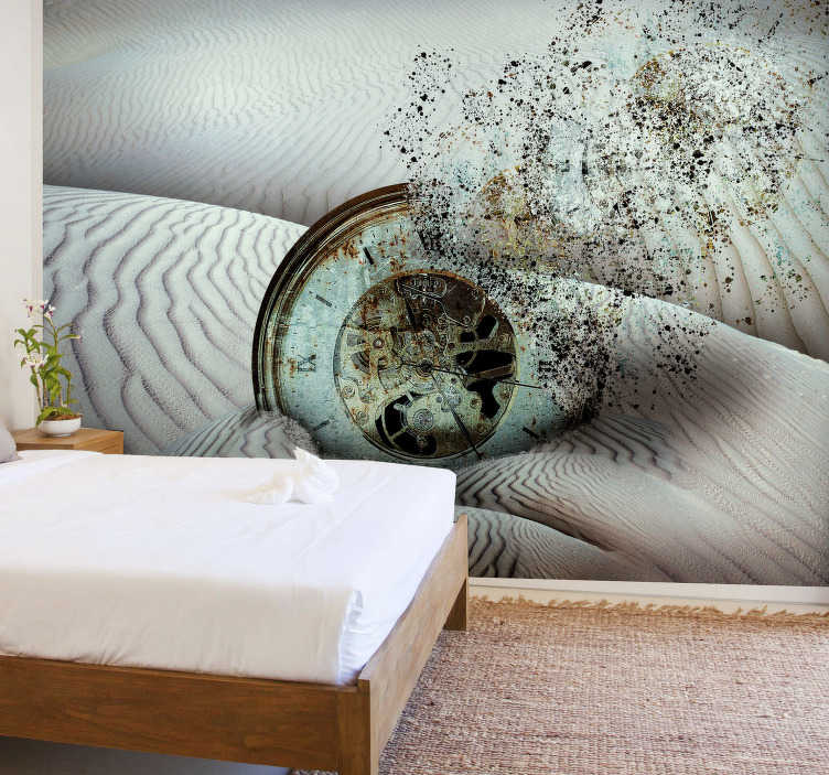 TenStickers. Surreal Desert  Wall Murals for Bedrooms. High quality desert wall mural with the clock dissolving into sand. Wake up your arty soul and redecorate your rooms in a spectacular way!