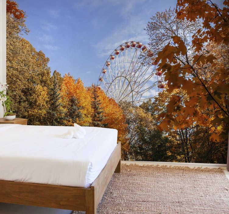 TenVinilo. Papel mural bosque de otoño con noria. Disfruta de la belleza de la temporada de otoño en cualquier momento del año con este fotomural de bosque perfecto para ti ¡Envío gratuito!