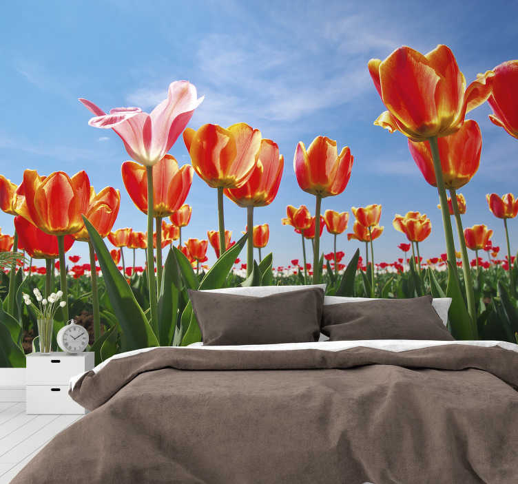 TenStickers. Tulip on the blue sky flower wall mural. Order online this flower wall mural to make your rooms always full of beautiful tulips. No need for watering! Free delivery!