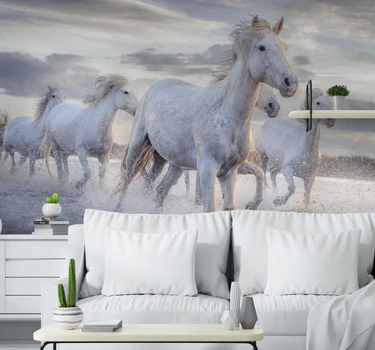TenStickers. Horses in water mural wallpaper. Beautiful animal wall mural full of horses running through the choppy water enjoying the wind surrounding their body. Free delivery!