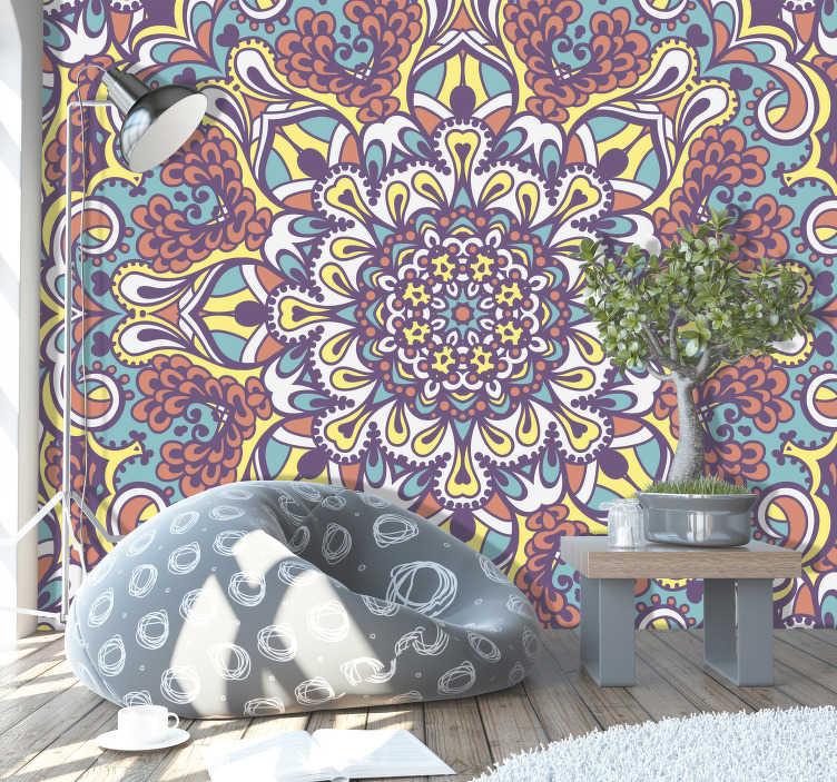 TenStickers. Zen ruimte fotobehang mandala met veel vormen. Prachtig mandala footbehang waar je lang van kunt genieten. Dit ontwerp bestaat uit allerlei verschillende vormen die prachtig zijn.