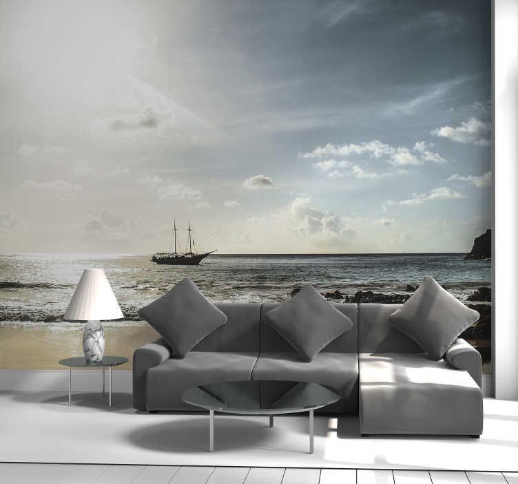 TenStickers. Fotomural decorativo de paisagens Fernando Noronha. Este mural de parede de mar com uma imagem da praia de Fernando Noronha, no Brasil, é o complemento obrigatório para a decoração da sua casa.