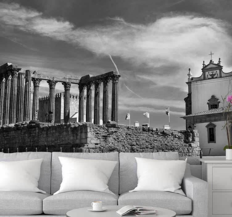 TenStickers. Mural de parede de cidades Templo de Évora. E este fotomural de lugares do Templo de Évora em Portugal impressionará todos os seus convidados.