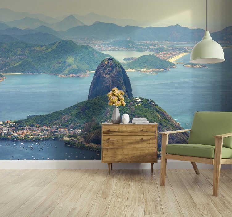 TenStickers. Fotomural de cidades e países Paisagem Pão de Açúcar. Magnífico fotomural de parede de cidades do Pão de Açúcar no Brasil é a decoração perfeita para as paredes da sua casa.