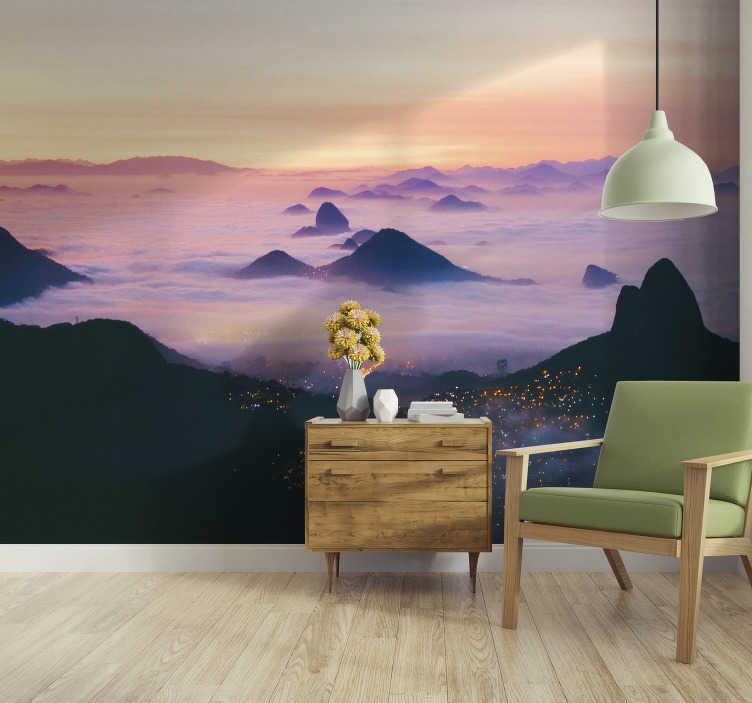 TenStickers. Mural de parede de cidades RJ sob as nuvens. Apaixone-se por este elegante fotomural de parede de paisagens e aprecie a beleza do mundo em sua sala ou quarto.