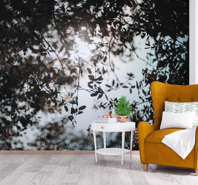 TenStickers. Fotomural de parede de paisagens Sob as árvores. Esqueça as paredes nuas e encomende este mural de parede decorativo de floresta que fará da sua sala ou quarto um lugar aconchegante, cheio de árvores e natureza.