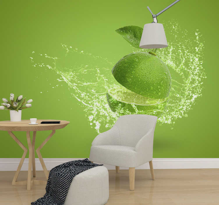 TenStickers. Juicy lime 3d effect wall mural. You shouldn't want to sink your teeth into this 3D effect lime wall mural, but it looks juicy. An eye catching decoration piece. Easy to apply.