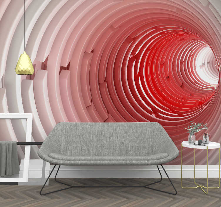 TenStickers. Stereoscopic 3D Mural Wallpaper. Enjoy our stereoscopic 3D photo wallpaper that shows a round tunnel that seems so realistic. Create the appropriate 3D effect on the desired wall .