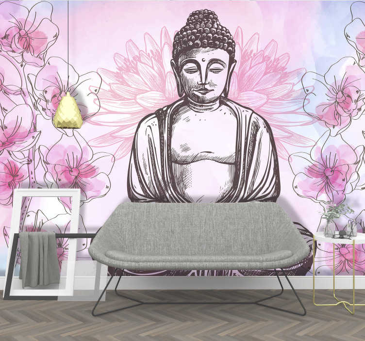 TenStickers. Buddha surrounded by orchids zen photo wallpaper. A relaxing, peaceful Buddha wall mural to add a unique look and feel to your walls in your rooms! Beautiful shades of pink and a gentle touch of blue.