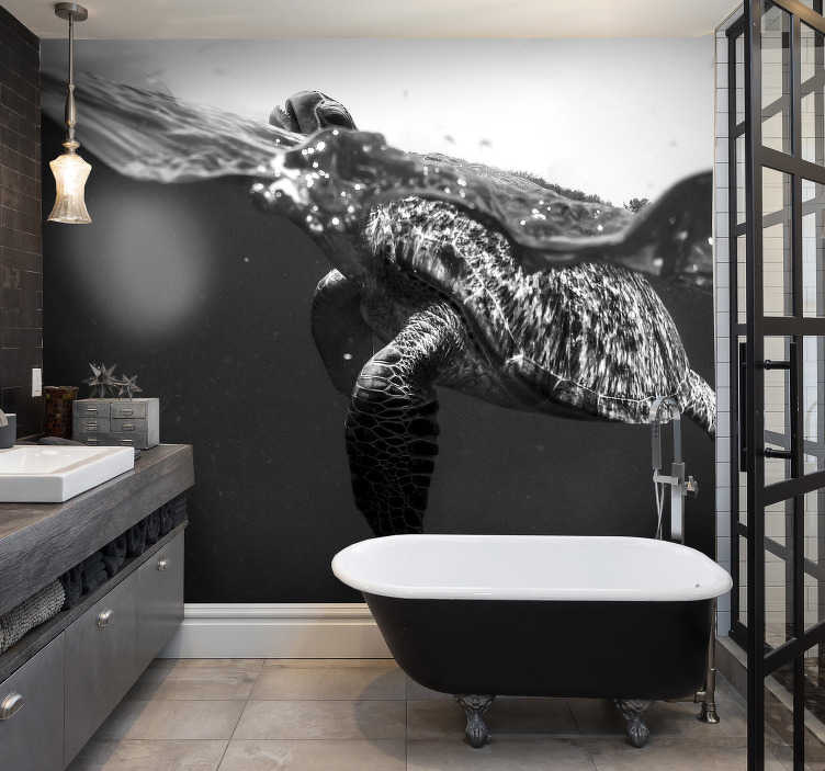 TenStickers. Black and white turtle swimming animal wall mural. Amazing black and white wall mural with a turtle that will be perfect as your new bathroom wall mural. Choose the size you need and order it now!