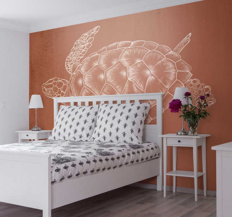 TenStickers. Hand Drawn Turtle animal wall mural. Fantastic brown wall mural with a turtle that will be a perfect decoration to a teenager bedroom or any nature lover. Free delivery!