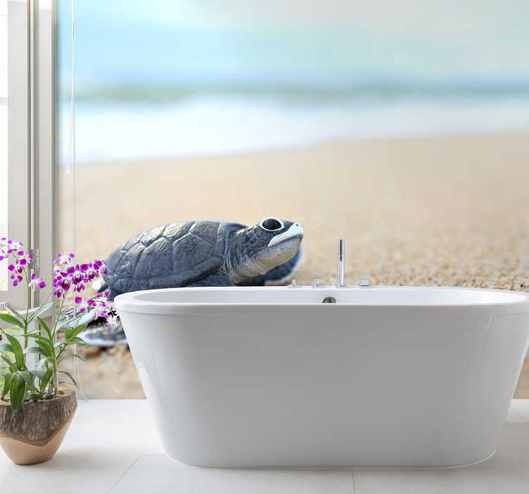 TenStickers. Little turtle on a white beach animal wall mural. Cute and stunning animal wall mural with a turtle in the foreground. Fall in love with this amazing design and high quality materials!