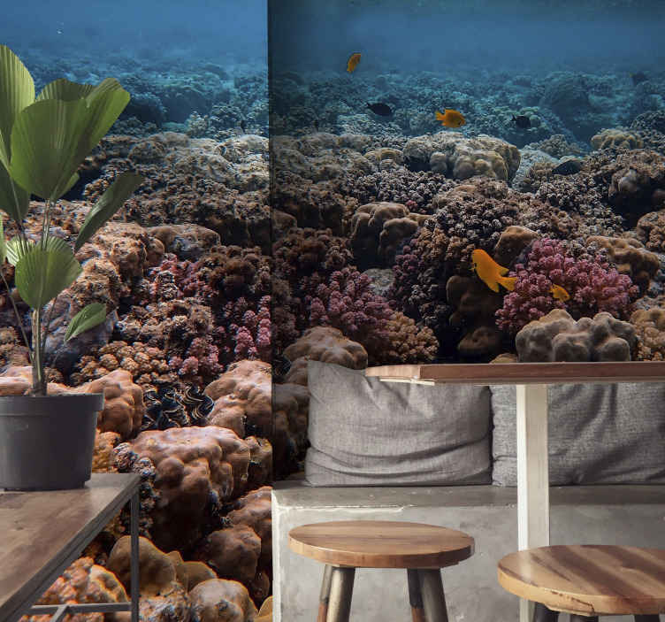 TenStickers. Coral reef and red fish landscape wall mural. A decorative photo scenery wall mural you need to create that satisfying scenery you want for your space . A design with an exotic and charming view.