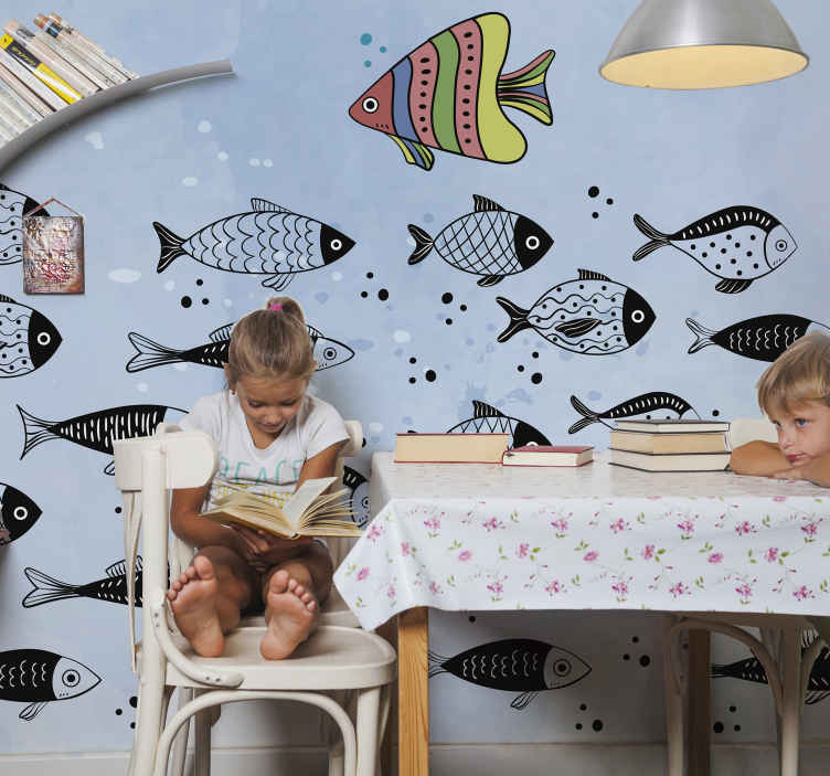 TenStickers. Counter flow wall mural. Children bedroom wall mural decoration to create an amazing and peaceful feeling . It is easy to apply and made of high quality.