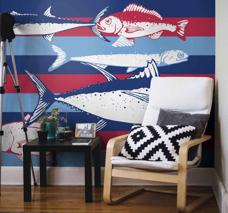 """""""Tenstickers"""". Ranka piešti žuvis sienos freska. Dekoratyvinis gyvūnų sienos freska su įvairiomis žuvimis, kad būtų galima patobulinti bet kurią pasirinktą erdvę. Lengvai pritaikomas ir pagamintas iš aukštos kokybės medžiagos."""