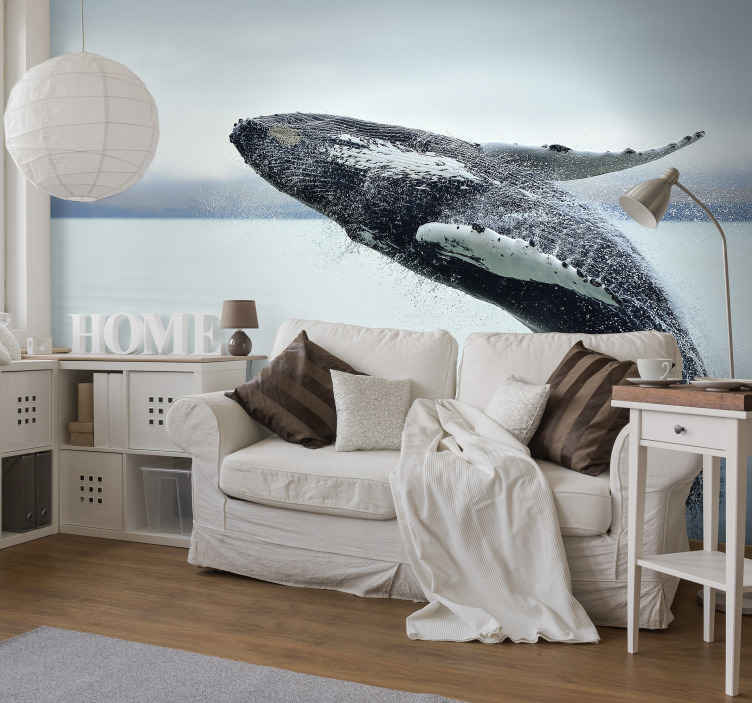 TenStickers. Humpback Whale wall mural. Decorate the home in  style and uniqueness with our original Humpback whale animal wall mural made from high quality material.