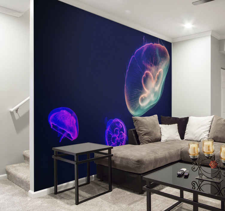 TenStickers. Multicolored Jellyfishes wall mural. Multicolored Jellyfishes animal wall mural to create that finishing touch of class in your home, office or business space.