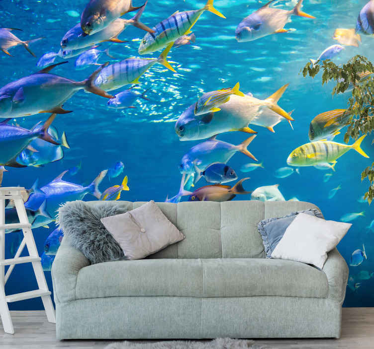 TenStickers. School of sea wall mural. An underwater colorful fish view blue wallpaper mural decoration for your space. A decoration to create a wonderful atmosphere in any space.