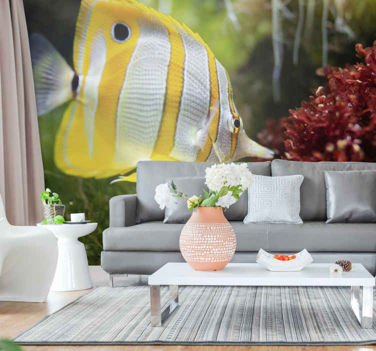TenStickers. White and yellow fish wall mural. An attractive under water fish wall mural that you can use to decorate the home in style and class. It is easy to apply with it instruction.