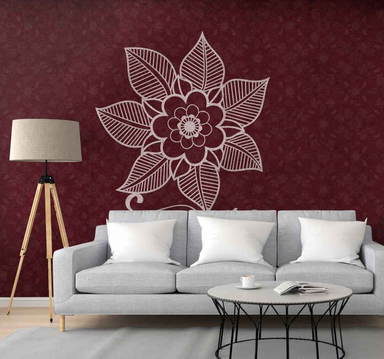 TenStickers. Beautiful paisley flowers mural. Decorative beautiful paisley flower wall mural with the design of paisley on red background. It is easy to apply and made of good quality.