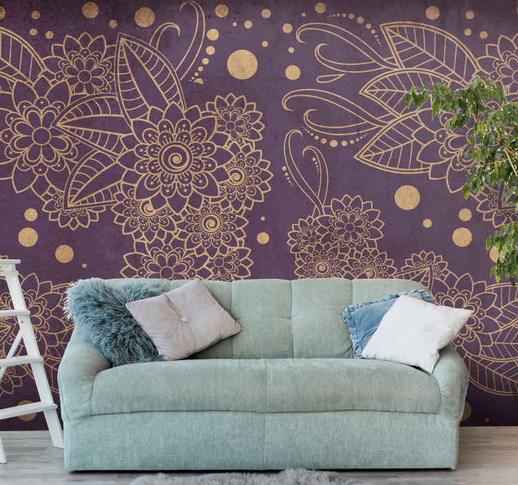 TenStickers. Floral paisley corner Lounge Photo Wallpaper. A fascinating ornamental paisley featured wall mural for your home and office decoration. It is made of high quality material and durable.
