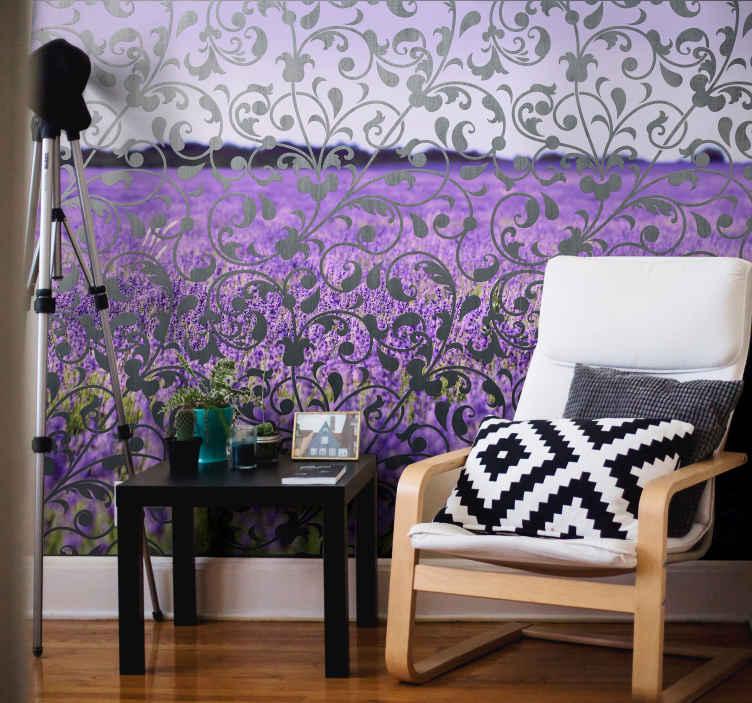 TenStickers. 장식적인 잎 페이 즐리 꽃 벽화. 가정과 사무실 훈장을위한 장식적인 페이즐리 꽃 벽 벽화. 적용 및 유지 관리가 쉽습니다. 다른 크기에서 사용할 수 있습니다.