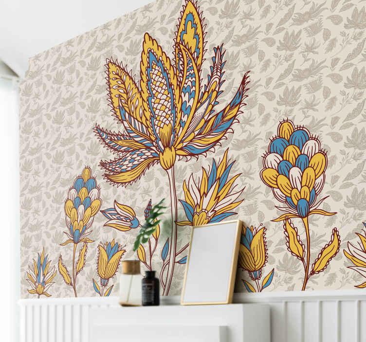 TenStickers. Paisley květina sada nástěnná malba. úžasná sada nástěnných maleb paisley pro výzdobu domácích a kancelářských prostor. Aplikace je velmi snadná a má různé rozměry.