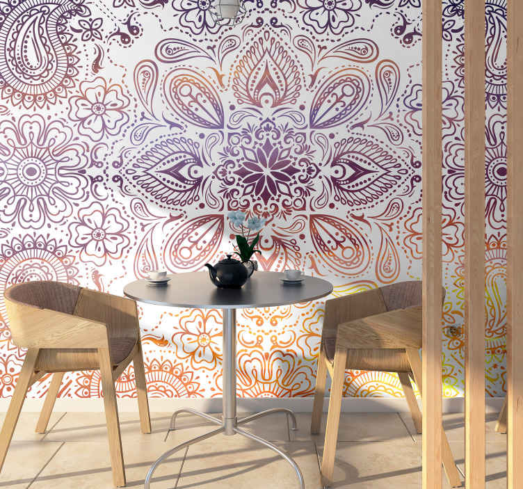 TenStickers. Paisley Tile zen wallpaper. A pattern photo wallpaper designed with a paisley pattern in beautiful colours. It is easy to apply on a flat wall and it comes in various sizes.