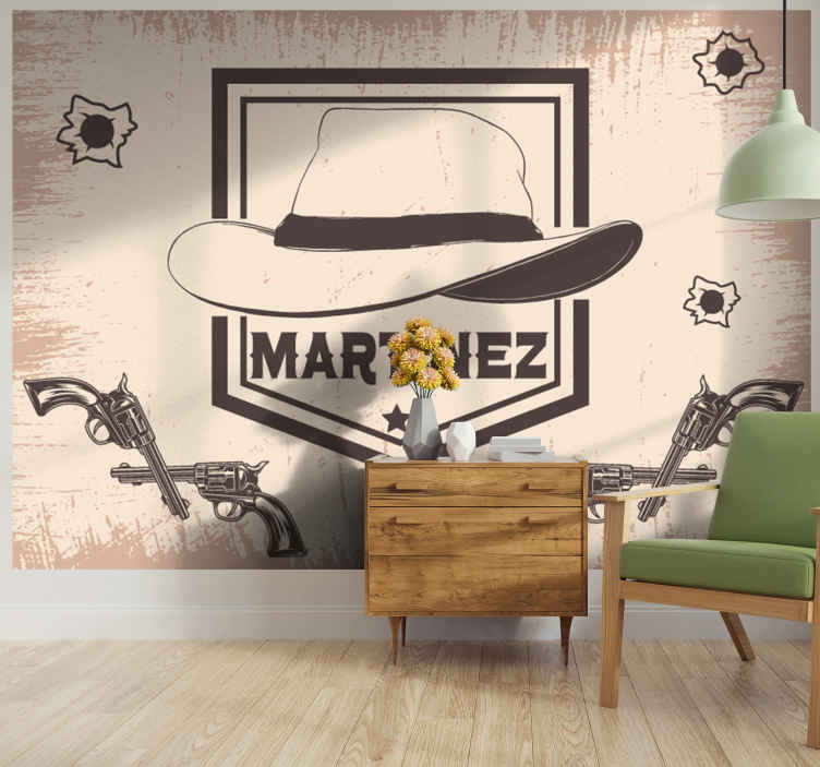 TenStickers. Cowboy hat with name wall mural. Customize a name on our cowboy photo mural with the design of a cowboy's hat and pistol. The product is made  with high quality material.