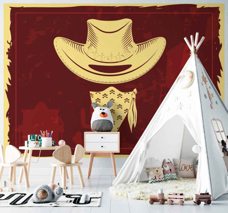 TenStickers. Cowboy hat,flock and revolvers Wall Murals for Bedrooms. Decorate your home in our original vintage wall mural with the design of cowboy's hat. This design is created on a desert featured background.