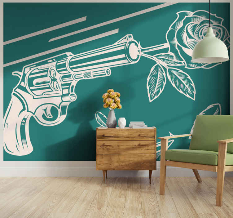 TenStickers. Cowboy revolver and rose flower mural. Green wall mural to beautify your home space with a cowboy vibes. The design is featured with a revolver shooting a rose.