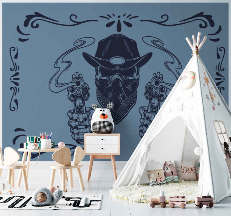 TenStickers. Cowboy skull and flock vintage photo wallpaper. Adhesive wall mural with the deign of a mask face cowboy shooting from two pistols. It is easy to apply and made from high quality material.