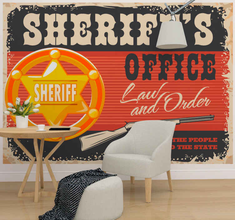 TenStickers. Cowboy star with name vintage photo wallpaper. Create a sheriff office in your living room in our amazing creative vintage photo wall mural featured with a sheriff badge, gun and inscriptions.