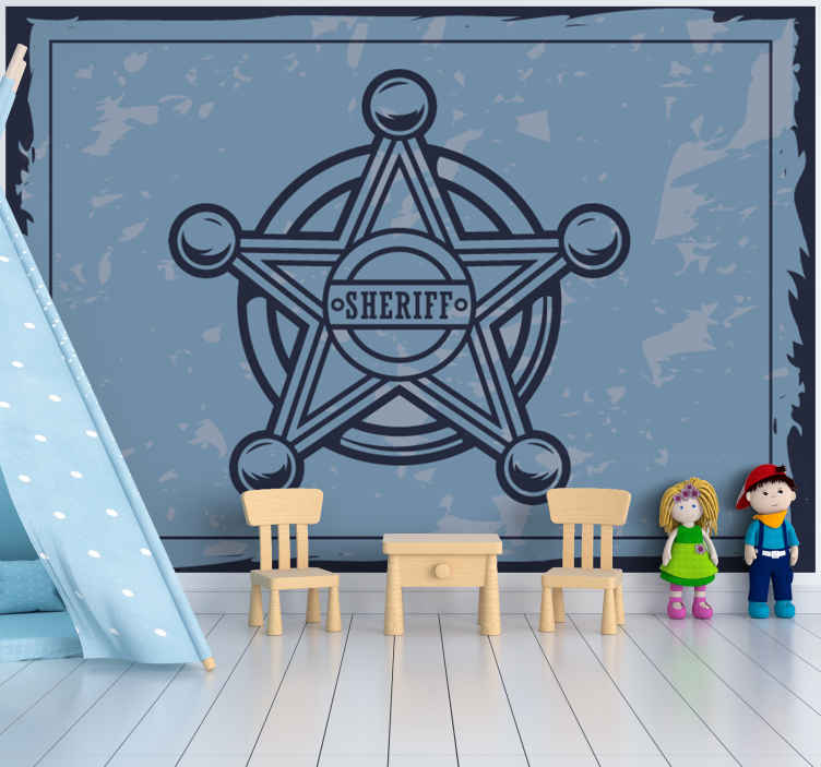 TenStickers. Cowboy Star vintage photo wallpaper. Vintage wall mural with the design of a star badge with customisable name. It is made with high quality material and very easy to apply.