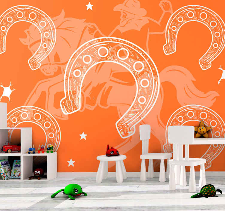 TenStickers. Horseshoe vintage photo wallpaper. Do you love horses or you are a rider?  Here we have a wall mural with design of horse shoes and a rider riding on a horde. It is easy to apply.