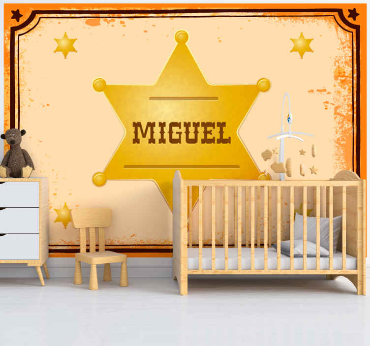 TenStickers. Sheriff Badge with name vintage photo wallpaper. Colourful personalisable name sheriff badge wall mural to impress your kid. The product is made with the best of quality material and easy to apply.